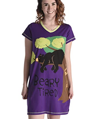 a2bdf05bc7 Lazy One Women s Beary Tired Nightshirt V Neck S M Purple  Amazon.co ...