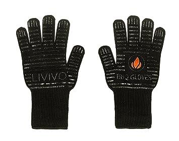 livivo® Par de guantes de barbacoa resistente al calor y llama guantes con elevador de