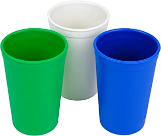 product image for Re-Play 3pk - 9oz. Drinking Cups | Made in USA from Eco Friendly Heavyweight Recycled Milk Jugs - Virtually Indestructible | for All Ages | Kelly Green, White, Navy | Nautical