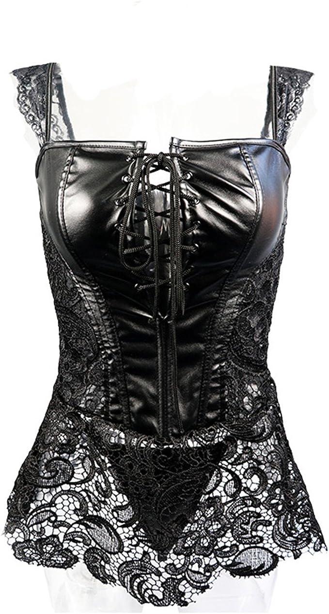 Amazon.com: spyman S-6XL Plus Size Corset Women Black Faux ...