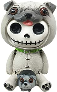 "Ebros Furry Bones Pugsley The Adorable Pug Skeleton Figurine 2.5"" H Furrybones Pug Dog with Puppy Costume Hooded Skull Monster Collectible Sculpture Decorative Toy"