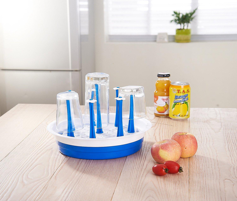 Drying Rack, Windspeed 8 holes Bottle Dish Cup Drain Dry Organizer Water Mug Bottle Stand Tray Holder - Flower Pattern (Blue)