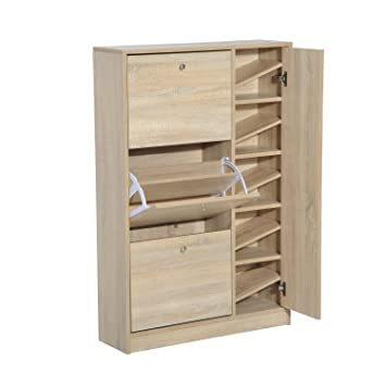 HomCom Compact Entryway Free Standing Ladies / Kids Shoe Cabinet Organizer  Closet   White Oak
