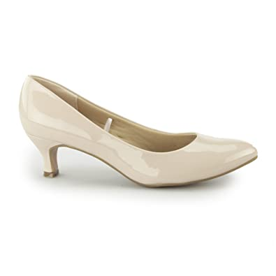 9d752c3efd5 Comfort Plus Texas Ladies Kitten Heel Court Shoes Patent Nude   Amazon.co.uk  Shoes   Bags