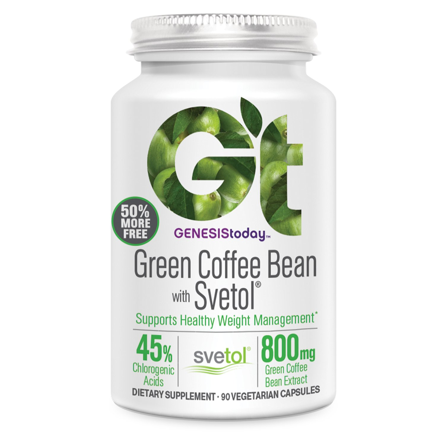 Genesis Today, Green Coffee Bean with Svetol 800mg, 90 Count