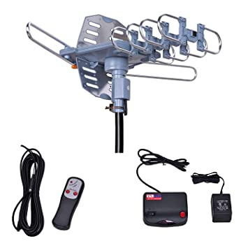 Will Brands 150+Miles Range Outdoor Amplified Digital TV Antenna-4K/1080p  High Reception 40FT RG6 Cable-Motorized 360Degree Rotation Wireless Remote