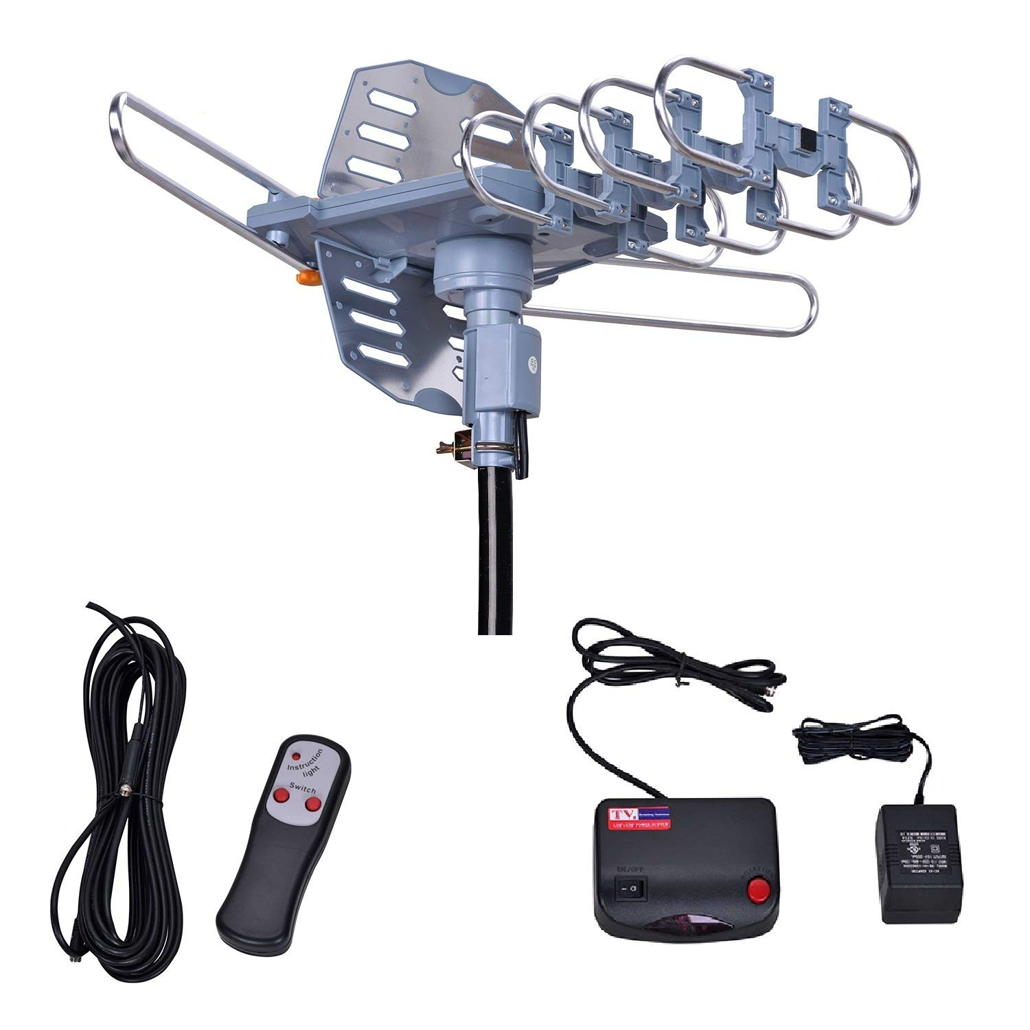 Will Brands 150+Miles Range Outdoor Amplified Digital TV Antenna-4K/1080p High Reception 40FT RG6 Cable-Motorized 360Degree Rotation Wireless Remote Control with Snap On Installation-2TVs Function by Will Brands