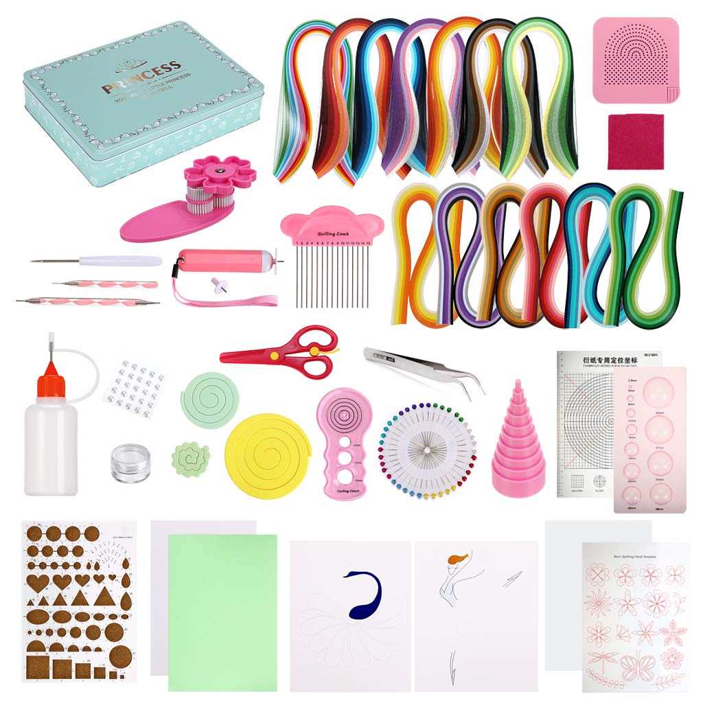 Skelang Paper Quilling Kit DIY Paper Crafts with 1440 Strips &30 Rose Rolls & 21 Tools & 1 Storage Box &6 Paper Cards Great for Home Decoration, Birthday Present and Christmas Gift
