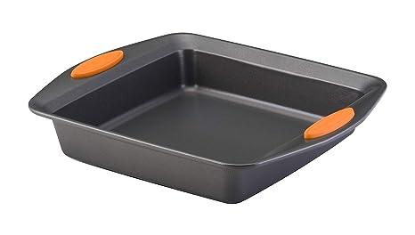 Rachael Ray Yum O Nonstick Bakeware 9 Inch Oven Lovin Square Baking Pan Gray With Orange Handles