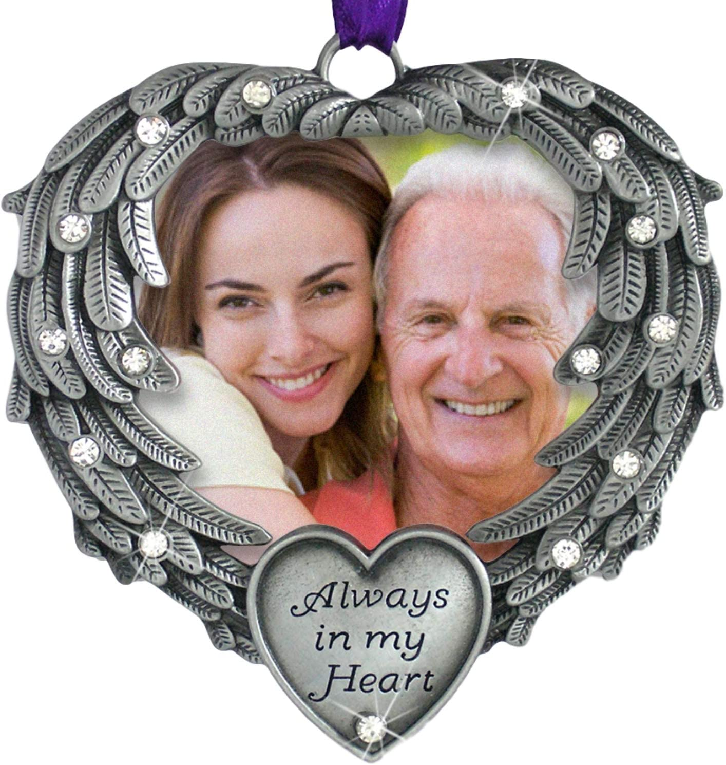 BANBERRY DESIGNS in Memory Photo Ornament - Always in My Heart - Angel Wings Picture Christmas Ornament - Sympathy Gifts - Bereavement Gifts