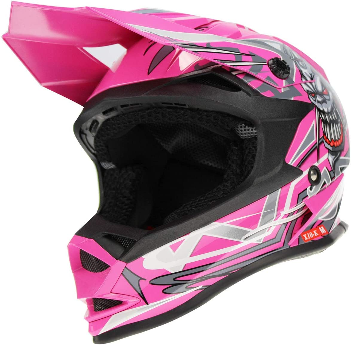 M 3GO X10-K Graphic Motorbike Helmet Pink Motocross Kids Quad ATV Dirt Enduro Children Off Road BMX MTB Wear 49-50 CM