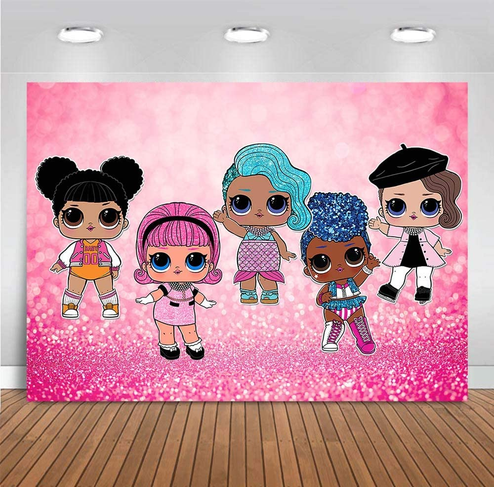 Pink Bokeh Theme Photo Backgrounds Glitter Shiny Photo Booth Studio Props Doll Toy Girls Happy Birthday Vinyl Photography Backdrops Children Newborn Baby Shower Party Banner Decor 5x3ft