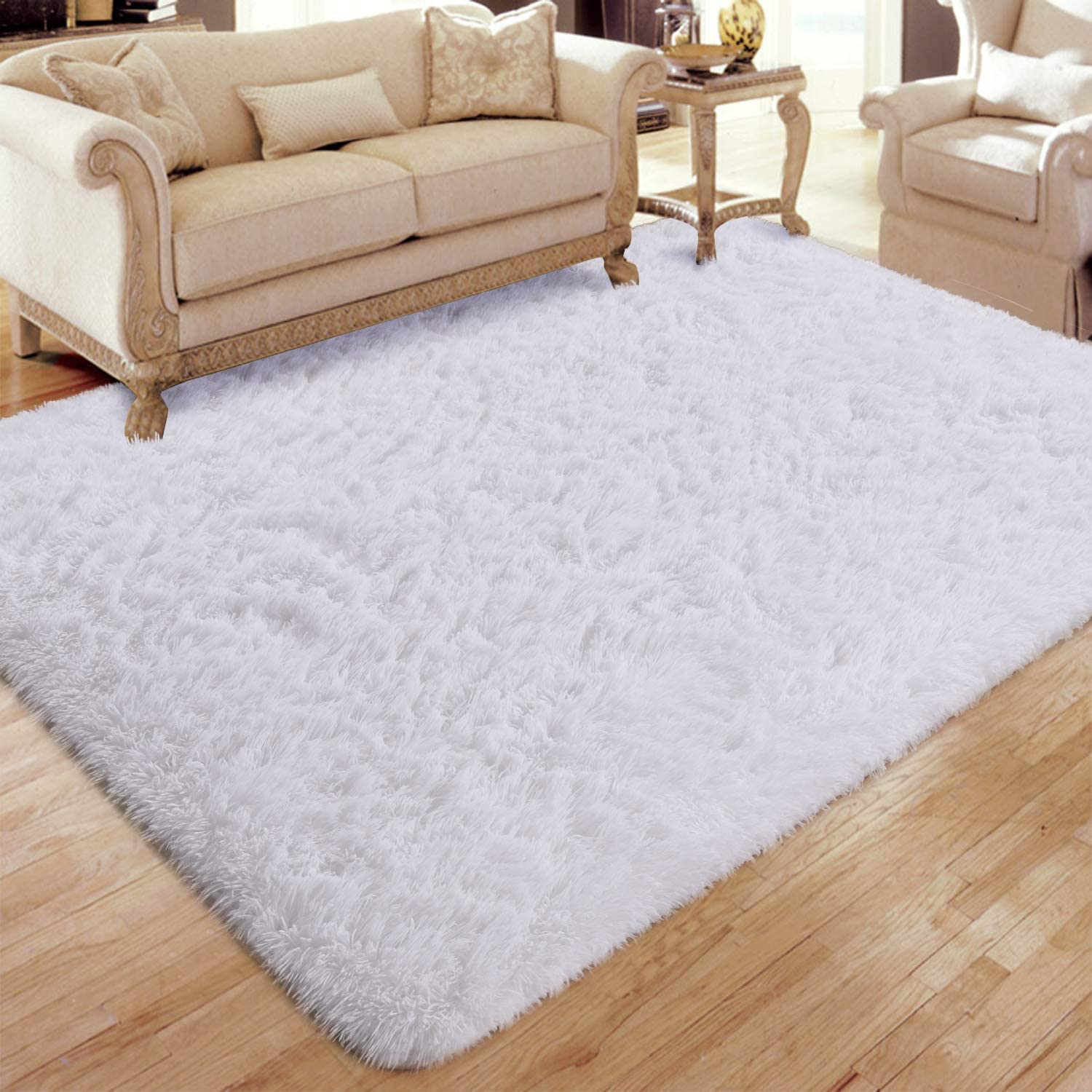 Flagover Soft Fluffy Modern Living Room Area Rugs Shaggy Plush Non-Slip Bedroom Carpets Suitable for Children Room, Baby Room, College Dorm and Nursery Home Decor Floor Rugs 5x8 Feet White