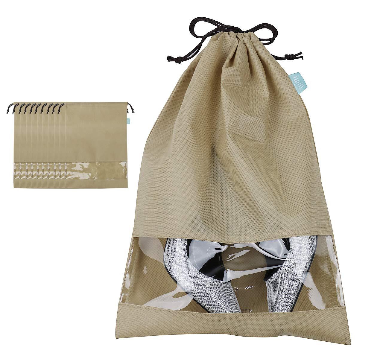 iwill CREATE PRO Shoe Storage Organizer Bags for Shoe Closet, Travel Shoe Storage Pouch for Trip, Khaki, 10pcs