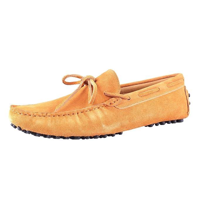 Santimon Hombre Ante Cuero Conducción Para Caminar Mocasines Mocasín Zapatos Terroso Amarillo 38: Amazon.es: Zapatos y complementos