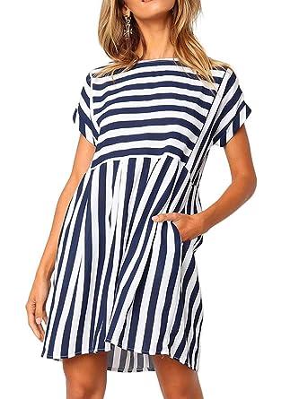 a73543dc9ff Naggoo Womens Stripe Short Sleeve Back Zip Pleated A-line Short ...