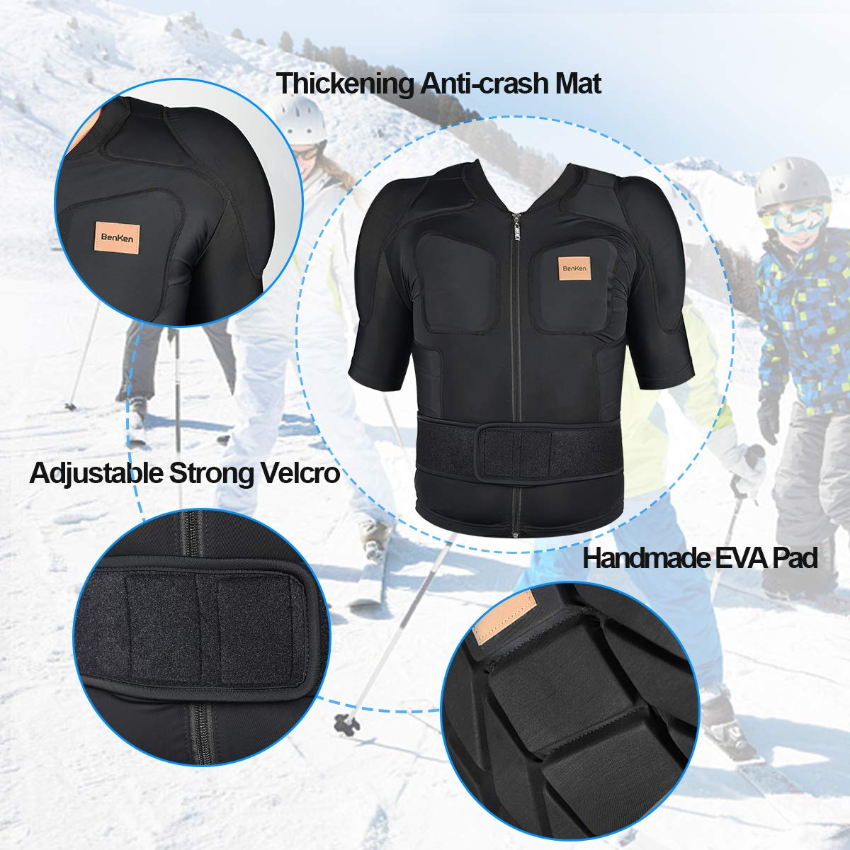BENKEN Body da sci a maniche lunghe Protector Guard Gear Pad con fodera motore torace spalla schiena giacca regolabile donna uomo Top Upper Padded Armor