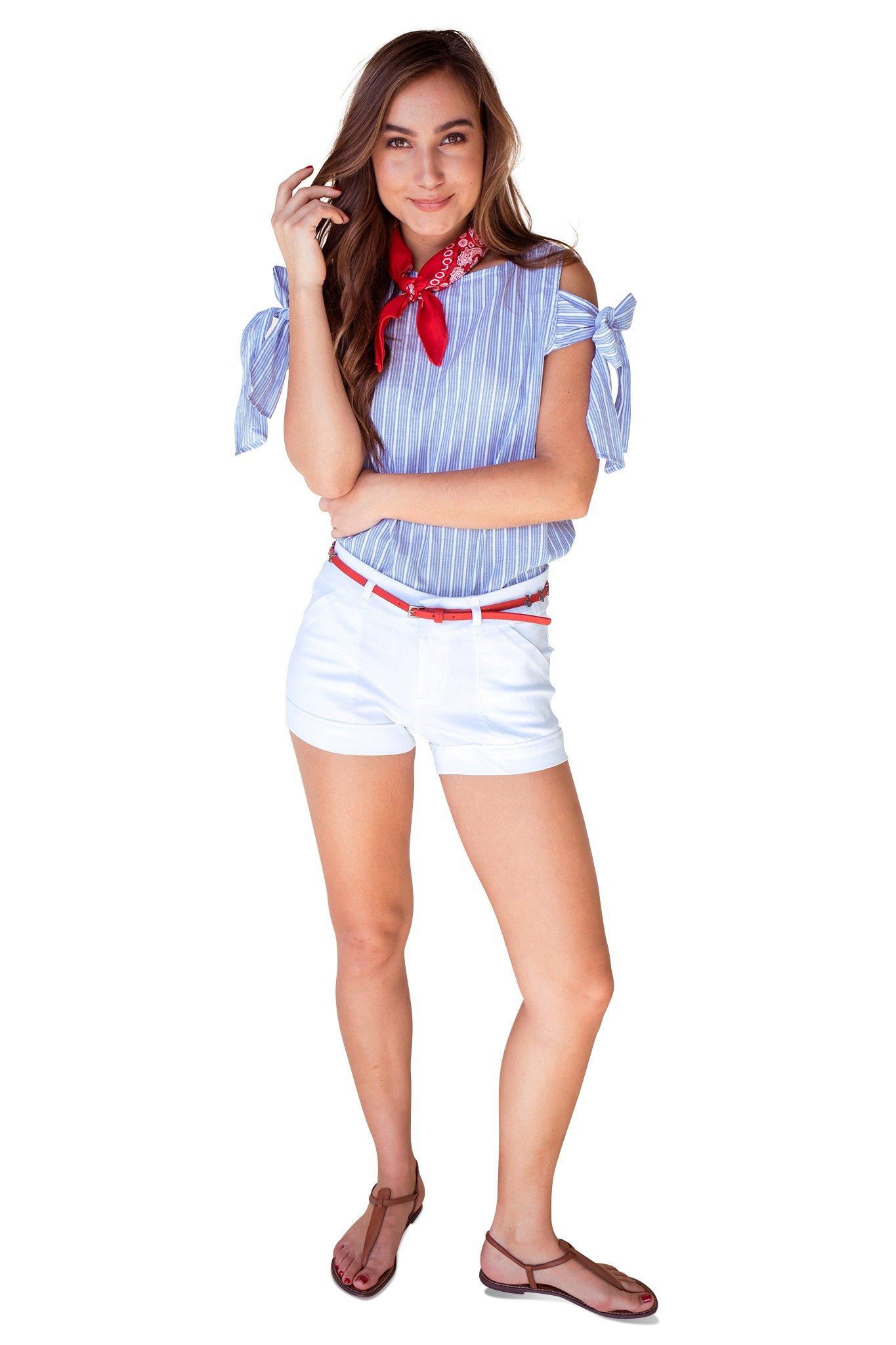Bebop Juniors White/Red Size 13 Stretch 4 Pocket Shorts Removable Belt