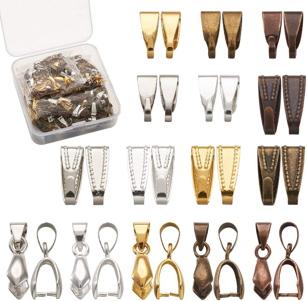 Kissitty 480pcs//box 5 Color Brass Pinch Clip Clasp and Snap On Bails Hook Pendant Clasps for Pendants Necklace Jewelry DIY Craft