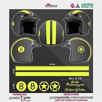 Supersticki Helm Aufkleber Set 8 Gelb Racing Streifen