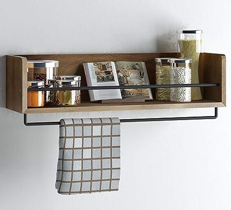 Wood Art Store Rustic Kitchen Wall Shelf with Metal Rail