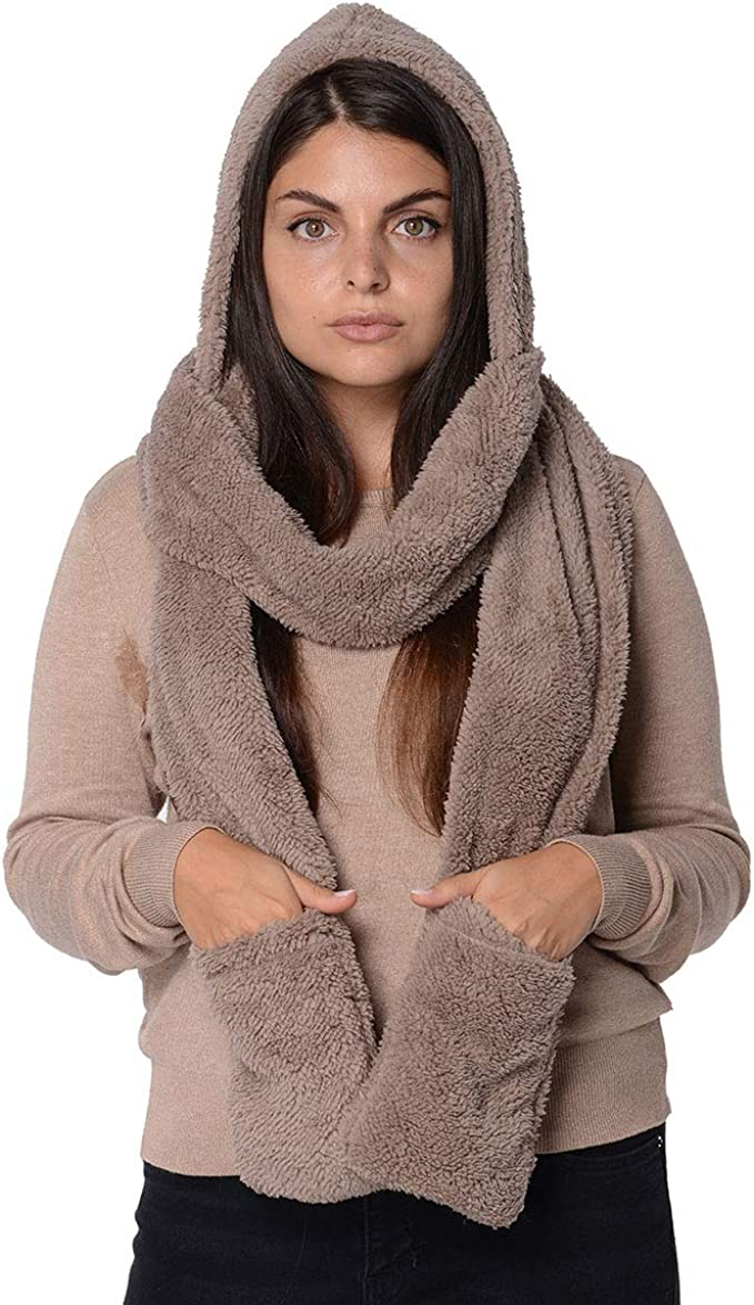 Womens 3 In 1 Scarf Hat Gloves Winter Warm Faux Fleece Soft Fur Hooded Pocket