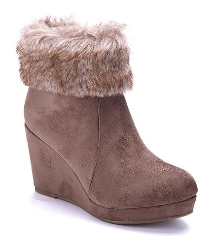 73be766d23a00b Schuhtempel24 Damen Schuhe Keilstiefeletten Stiefel Stiefeletten Boots  Khaki Keilabsatz 8 cm