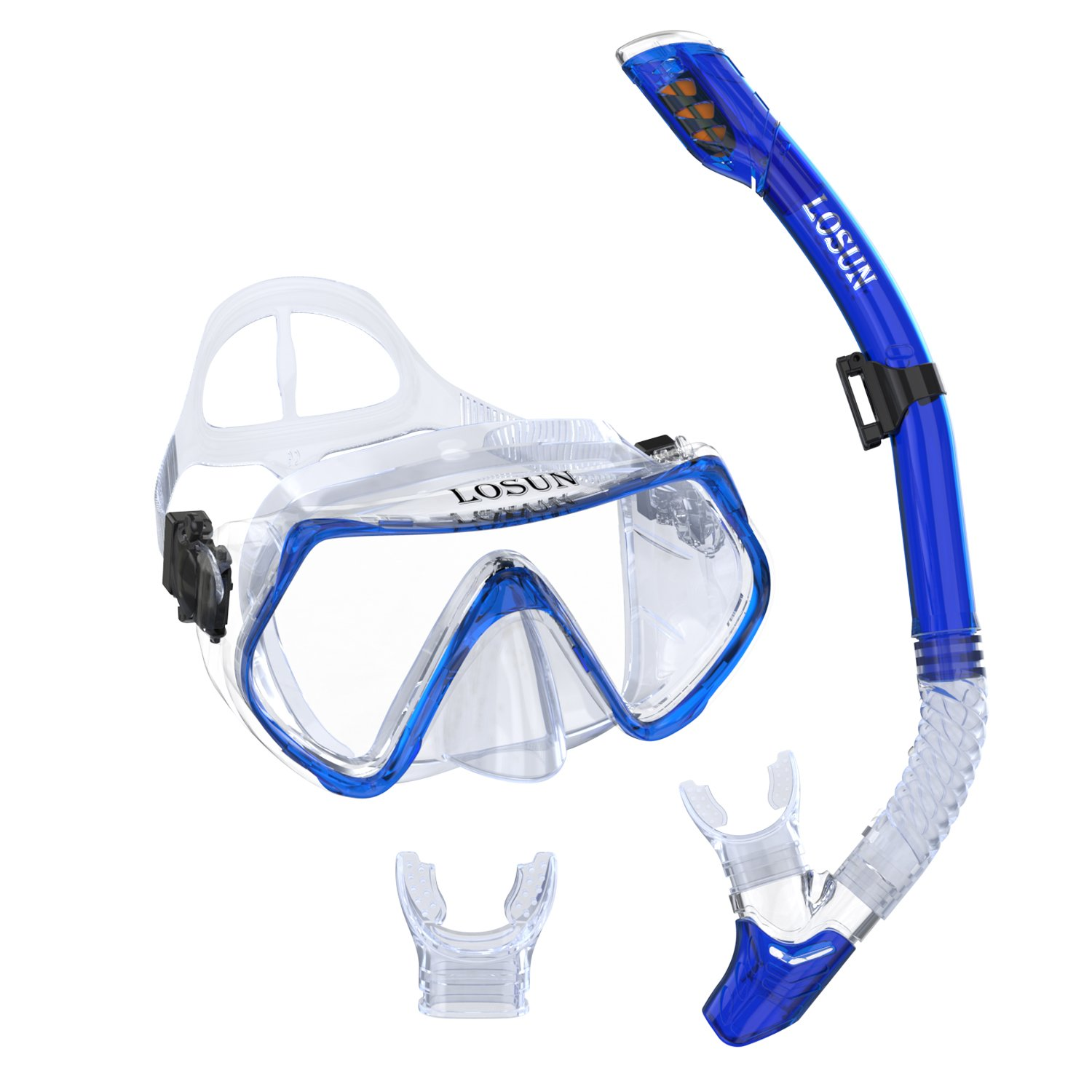 Losun Snorkel Mask Set for Adult with 2 Mouthpieces, Diving Swimming Goggles Mask Dry Snorkel Tube Set by Losun