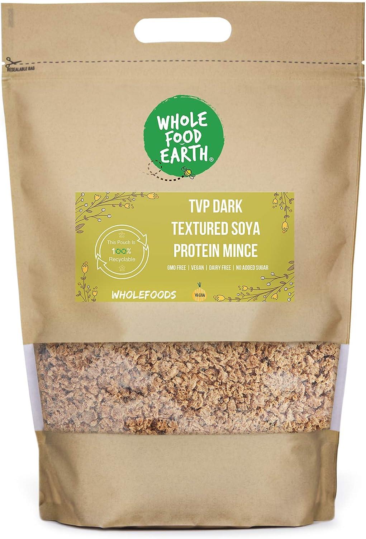 Wholefood Earth TVP - Proteína de soja con textura oscura, sin OMG, vegano, sin lácteos, sin azúcar añadido, 1 kg