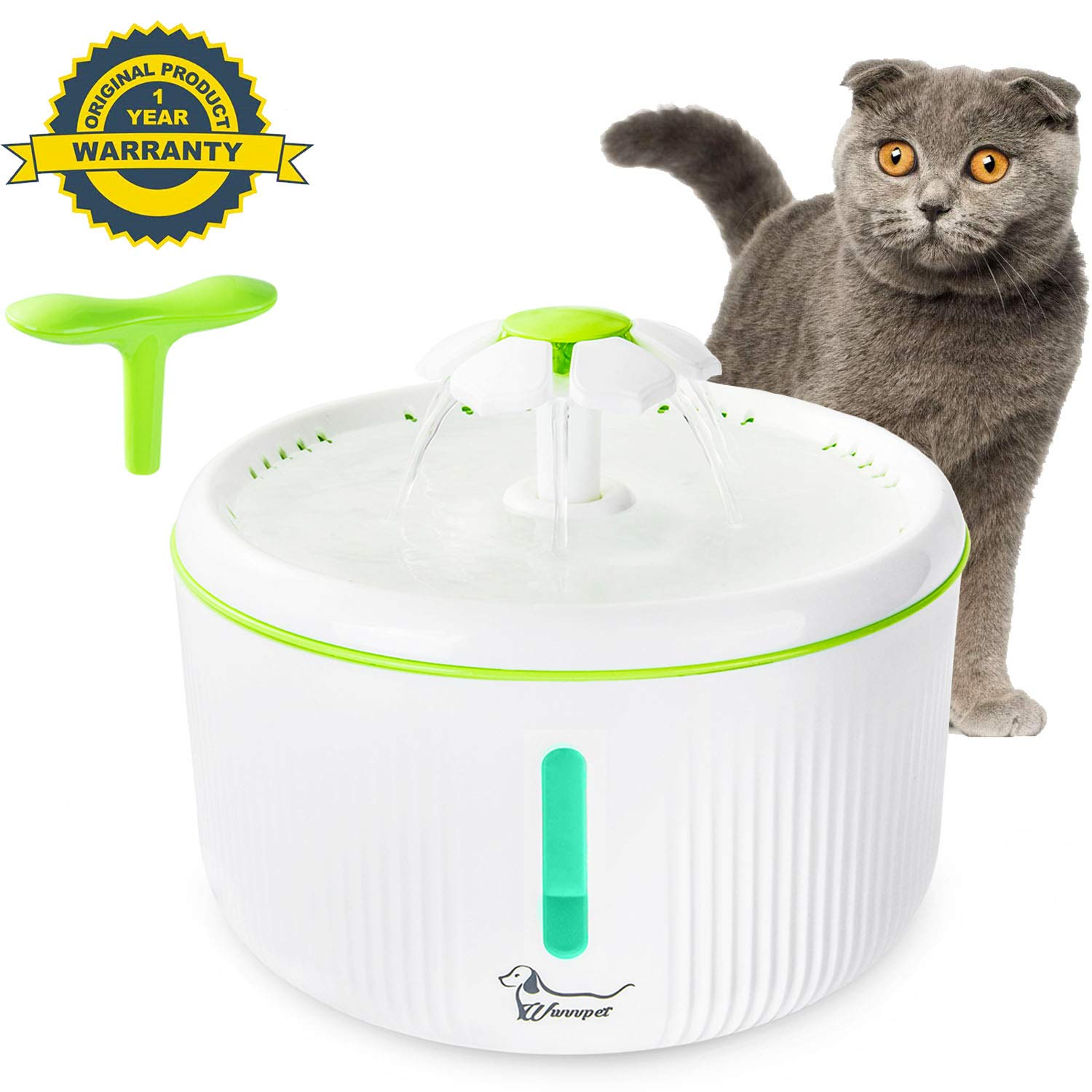 Cat Water Fountain with Water Level Window & LED Light,Flower Pet Drinking Dispenser with 2 Tops,2L Automatic Silent Dog Water Dispenser Feeder Bowl with 2 Replacement Filters for Cat Dog Bird