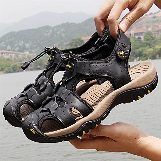 Amazon.com | LLPSH Mens Outdoor Sports Sandals Summer Casual Beach Fisherman Slippers Adjustable Belt Soft Flat Shoes Closed Toe | Sandals