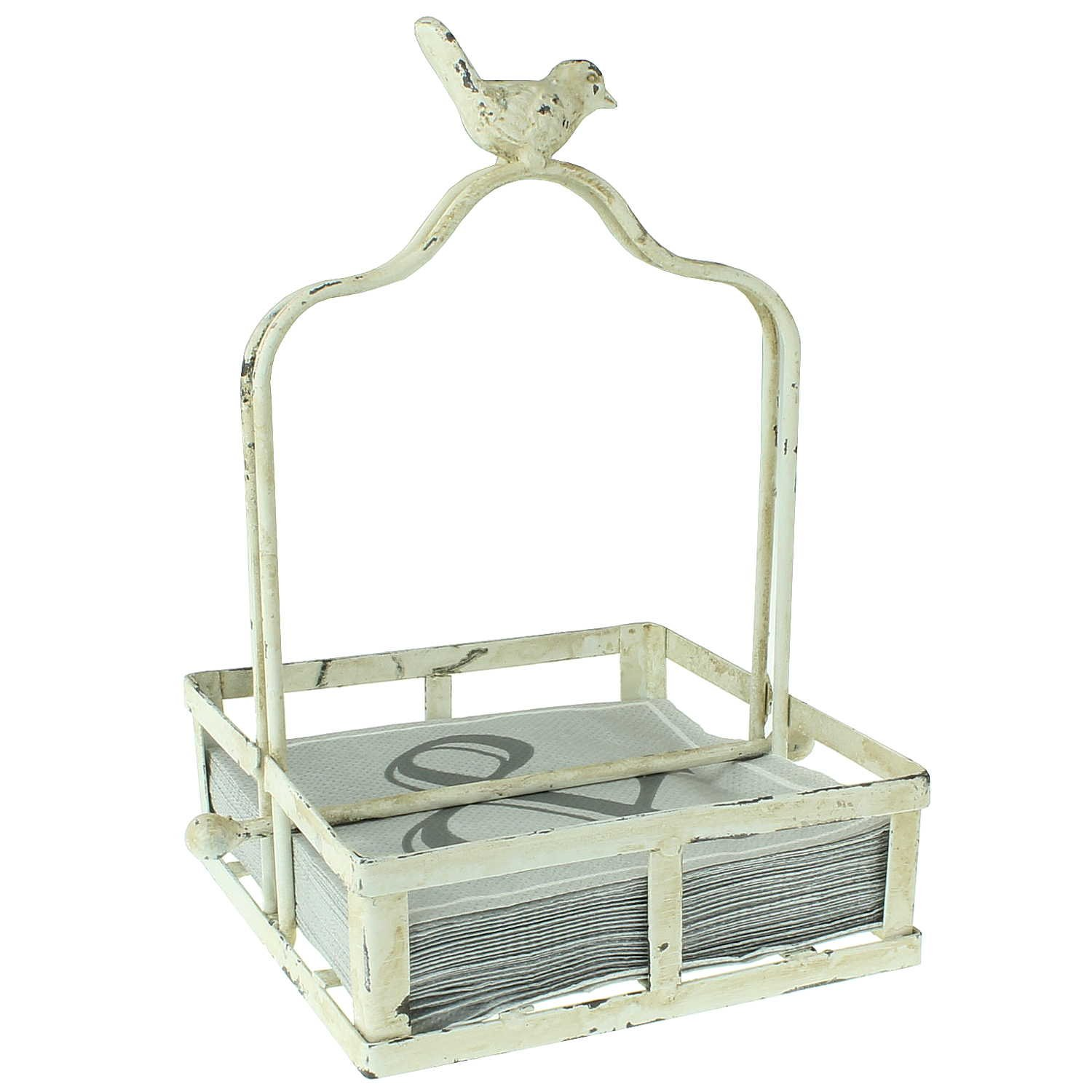 Beautiful Antique Napkins Cream White Stand. With a Bird. Nostalgia. Distressed Vintage Shabby Chic Metal Stand. Weight Lever. 17x 17cm Napkin Holder. Napkins Basket. MACOSA HOME