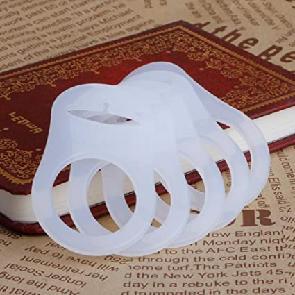 10 White Transparent Silicone MAM Ring Button Style Dummy Pacifier Clip Adapters