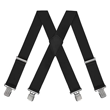 HDE Men s Solid Straight Black Suspenders Strong Clips X-Back Utility Braces 6c47c1506