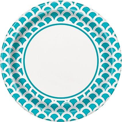 Teal u0026 White Scallop Print Dinner Plates ...  sc 1 st  Amazon.com & Amazon.com: Teal u0026 White Scallop Print Dinner Plates 8ct: Kitchen ...