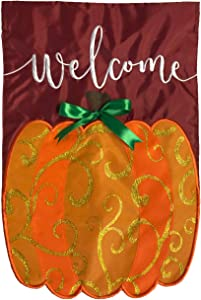 "Briarwood Lane Welcome Pumpkin Fall Applique Garden Flag Autumn 12.5"" x 18"""