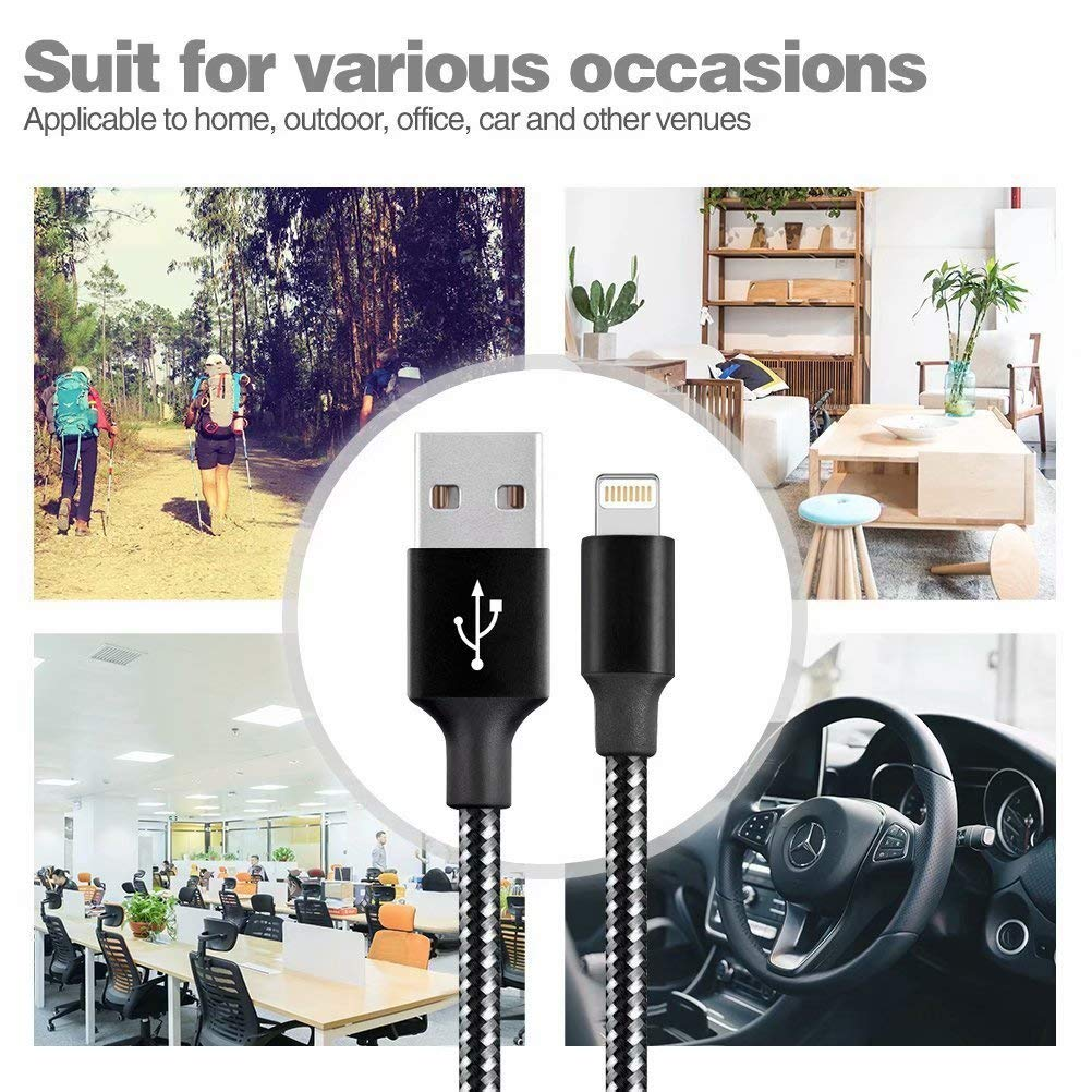 Black/&White DNLM iPhone Charger USB Nylon Braided Syncing 5Pack 3FT 3FT 6FT 6FT 10FT Lightning Cable Compatible iPhone 11 Pro Max SE 8 8 Plus 7 7 Plus 6s 6s Plus MFi Certified Charging Cable