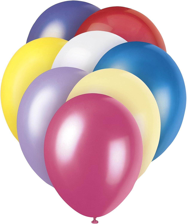 Unique Party 80152 Globos Perlados de Látex para Fiestas 30 cm Surtido de Colores Paquete de 8, pastel variado, 8 unidades