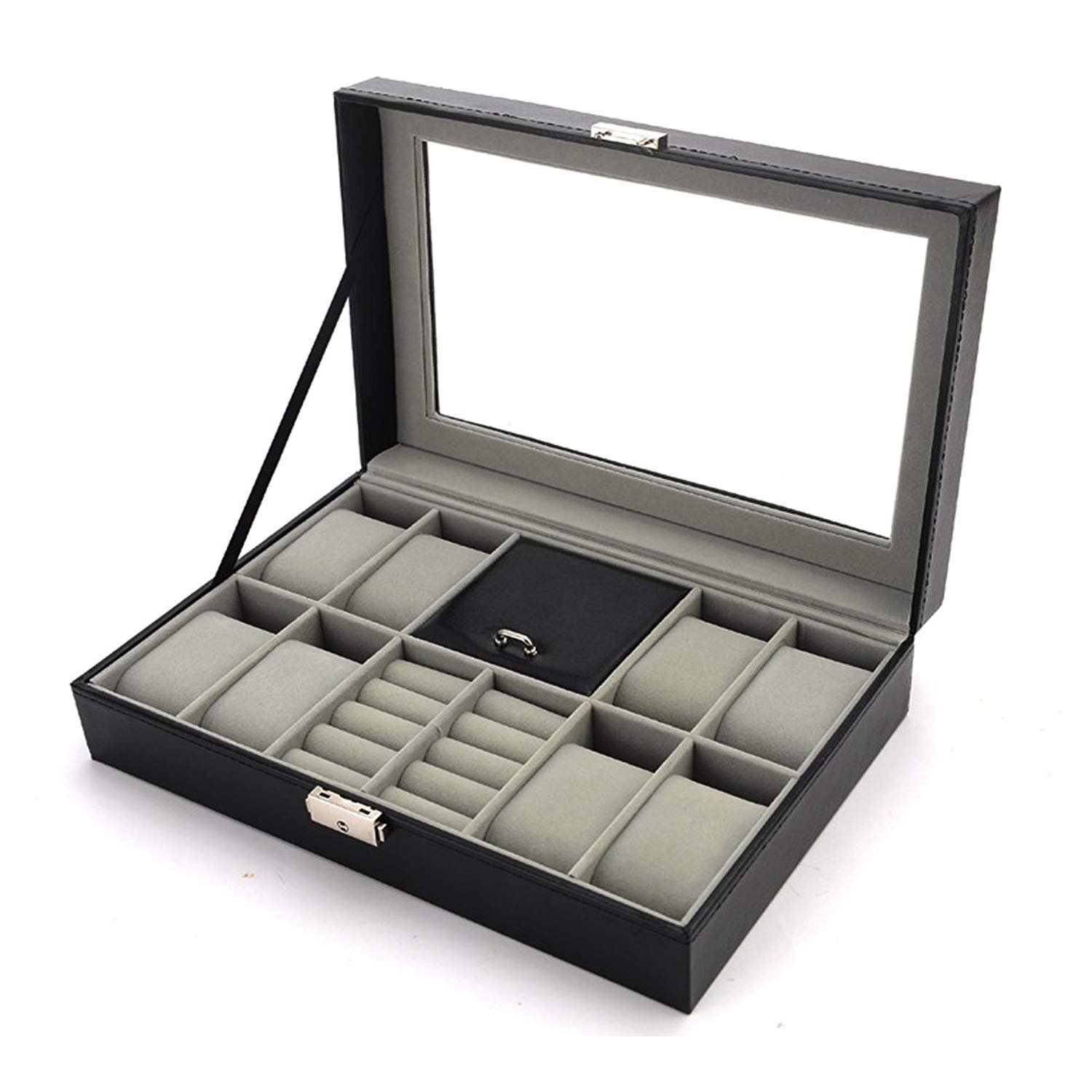 Boby Cufflinks and Watch Box Organizer Watch Case for Men PU Leather for Display Storage Holder for 8 Watches Cufflinks and Rings with Glass Top Black