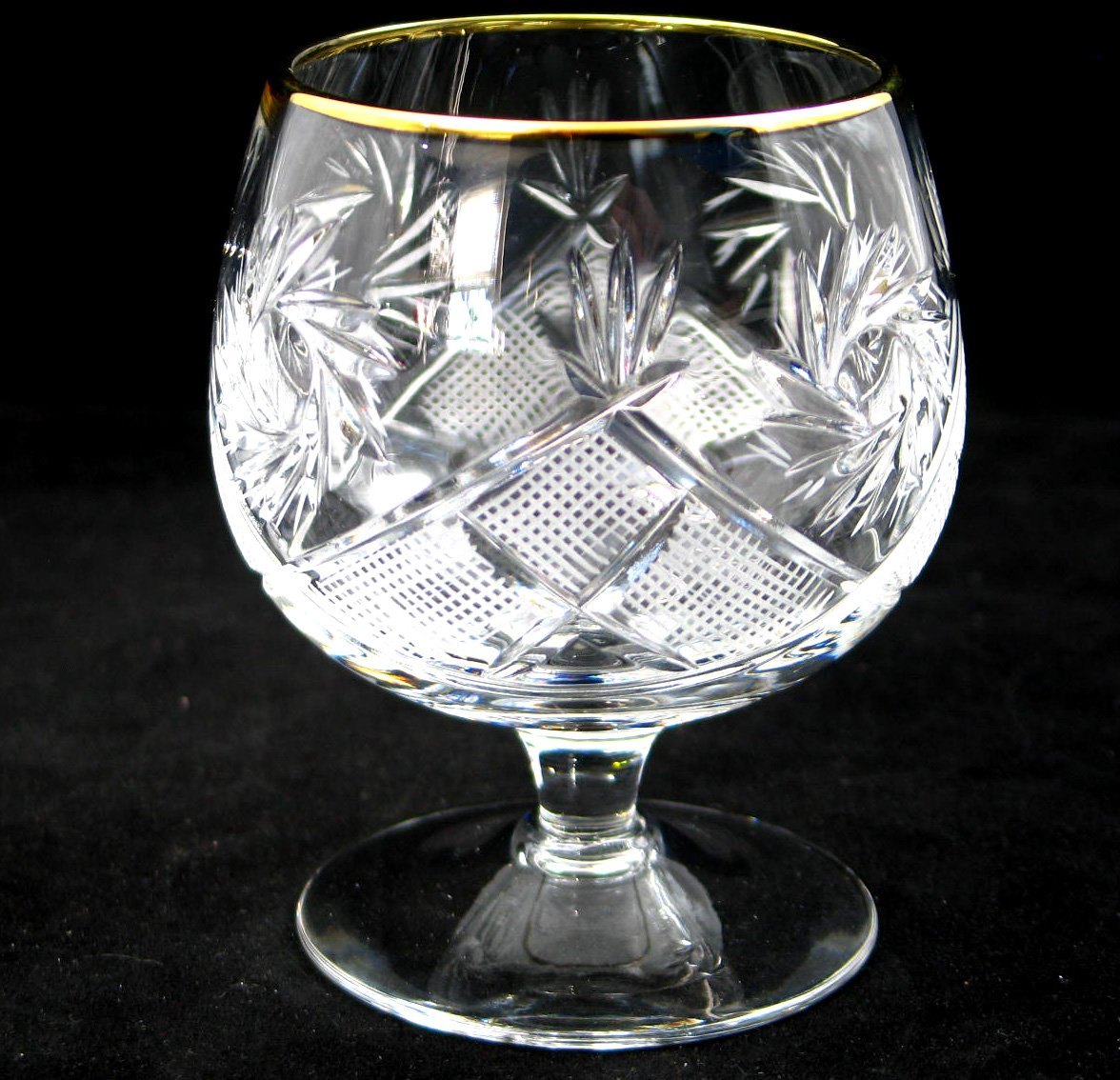 SET of 6 Russian Cut Crystal Cognac Scotch Whiskey Stemmed Snifter Goblet Glass 24K Gold Rimmed 10 Oz. Vodka Liquor Old-fashioned Glassware Hand Made by Neman Crystal (Image #4)
