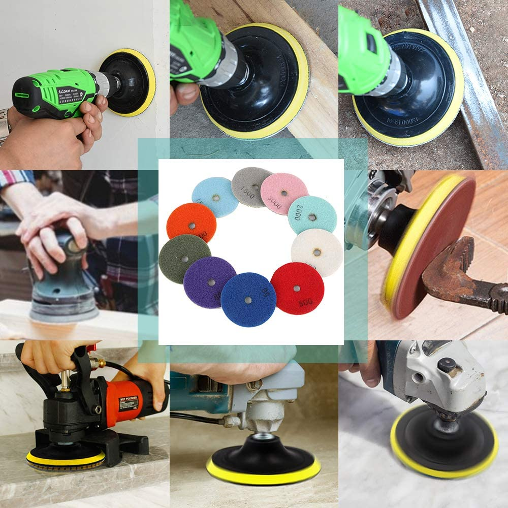 50#-3000# Grit Pads with Hook and Loop Backing Holder Pads with 8mm M14 Drill Adapter for Granite Stone Concrete Marble Floor Grinder or Polisher 3 Inch Diamond Wet Polishing Pads Set Totally 14pcs