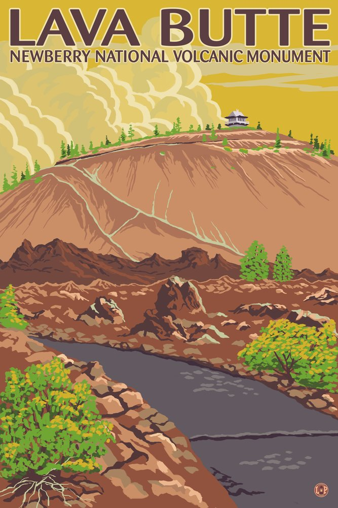 Newberry National Volcanic Monument, Oregon - Lava Butte (9x12 Art Print, Wall Decor Travel Poster)