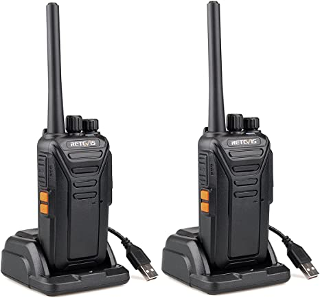 Retevis RT27 Walkie Talkie PMR446 License-free Hands-free Security Walkie-Talkie Rechargeable DCS Encryption CTCSS//DCS with USB Charger Base 5Pcs,Black