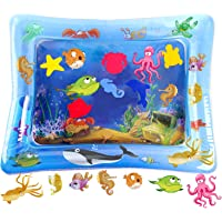 HISTOYE Baby Inflatable Patted Pad Tummy Time Water Play Mat Toys for Babies Water Activity Growth Mat Toys for Infants Toddlers Blue Marine Pattern
