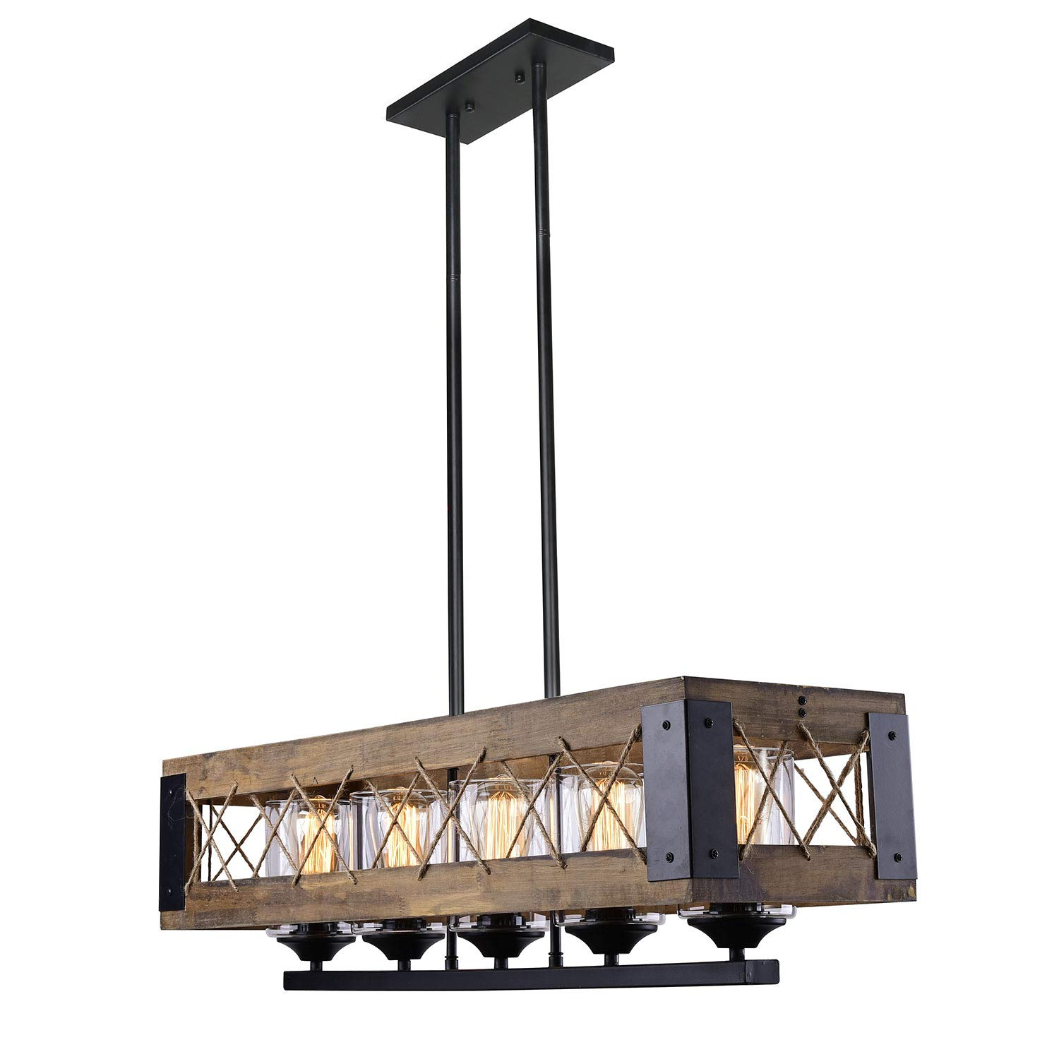 LALUZ 5 Farmhouse Kitchen Island Lighting, Wood Chandeliers for Dining Rooms A03145