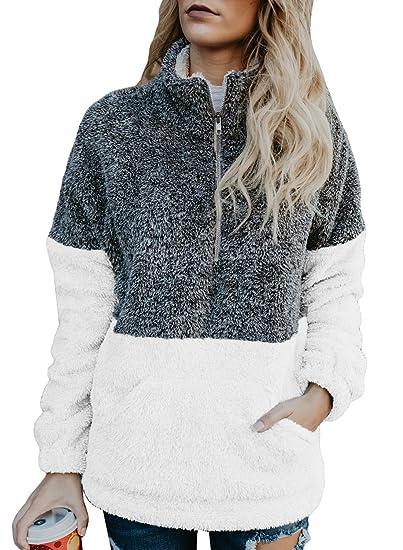 Chase Secret Womens Sweatshirt Cozy Loose Casual Winter Oversized Soft  Fluffy Fleece Sweatshirt Pullover with Pockets 05f9a960bd