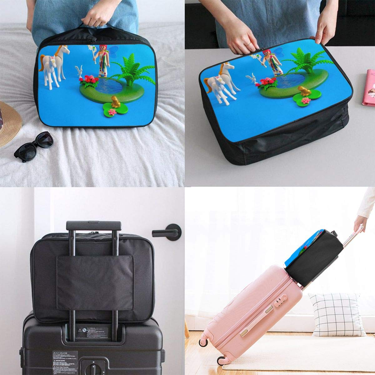 Amazon.com | Travel Bags Hada Con Unicornios Y Rana Con ...