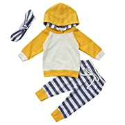 Arleysh 3pcs Kids Baby Boys Girls Hoodie Tops Sweatsuit +Striped Pants+Hat Outfits (3-6 Months, A-Yellow)