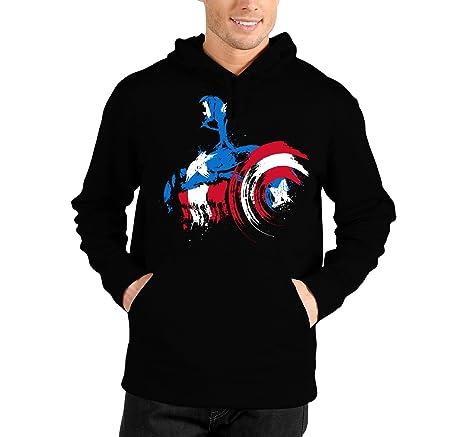 bubbleshirt Felpa con Cappuccio Capitan America - Captain America - Film -  in Cotone e39044b9c007
