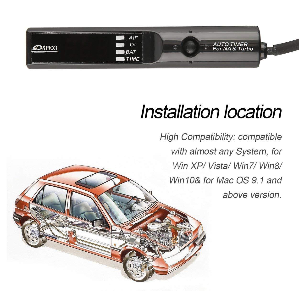 Lorenlli 12 V Pantalla LED Digital Roja Programable Auto Car Turbo Timer Medidor de Vehículo Dispositivo Pen Control Unit Power Refit Tutamen Herramientas: ...